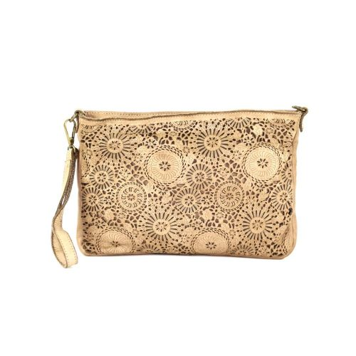 CLAUDIA Laser Clutch Wristlet Bag Beige