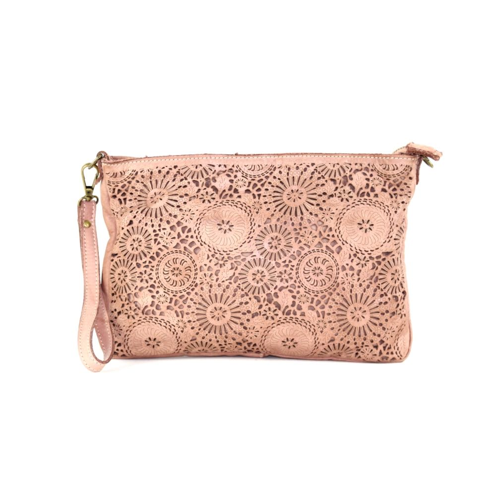 CLAUDIA Laser Clutch Wristlet Bag Blush