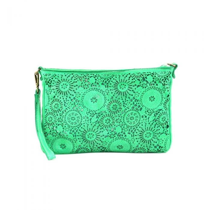claudia laser clutch wristlet bag emerald green