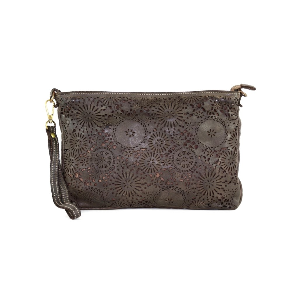 CLAUDIA Laser Clutch Wristlet Bag Brown