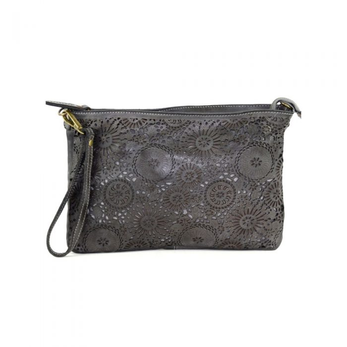 claudia laser clutch wristlet bag dark grey
