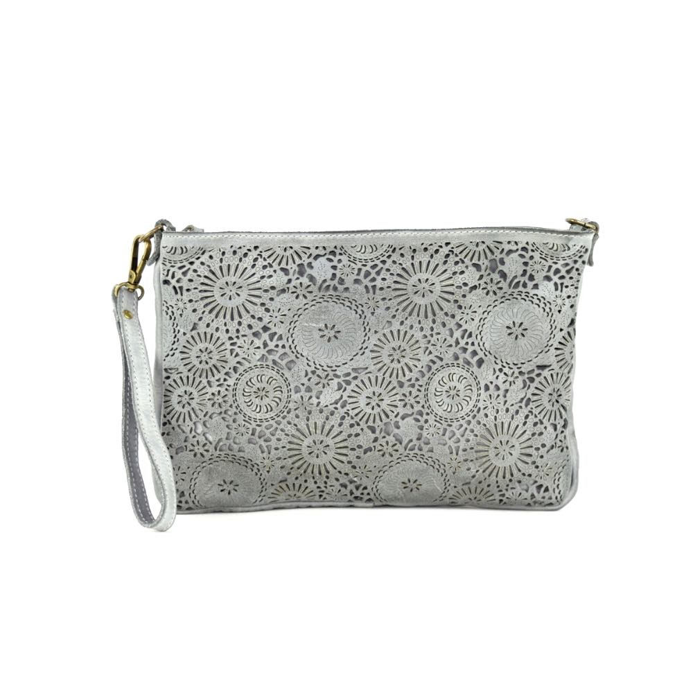 CLAUDIA Laser Clutch Wristlet Bag Light Grey