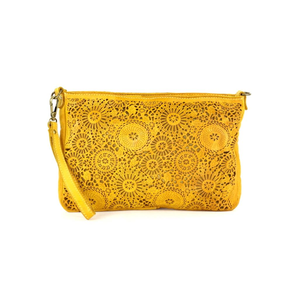 CLAUDIA Laser Clutch Wristlet Bag Mustard