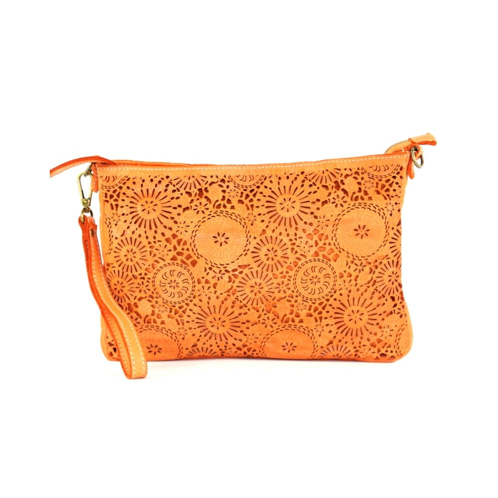 CLAUDIA Laser Clutch Wristlet Bag Orange