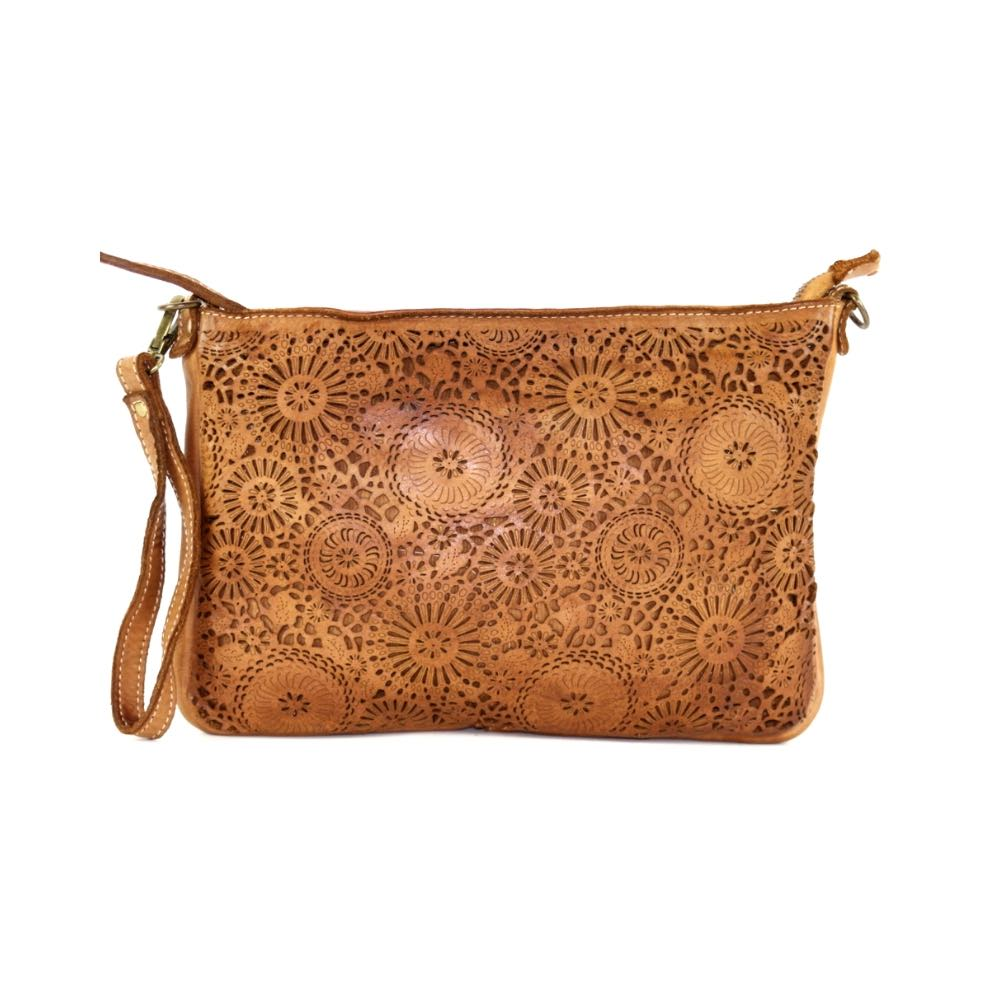 CLAUDIA Laser Clutch Wristlet Bag Tan