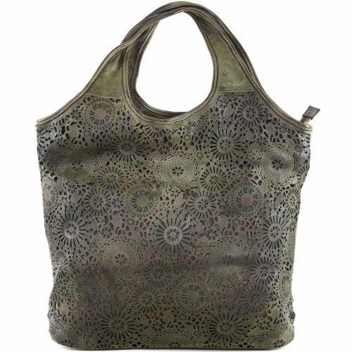 FIORELLA Shoulder Bag With Laser Cut Detail Army Green