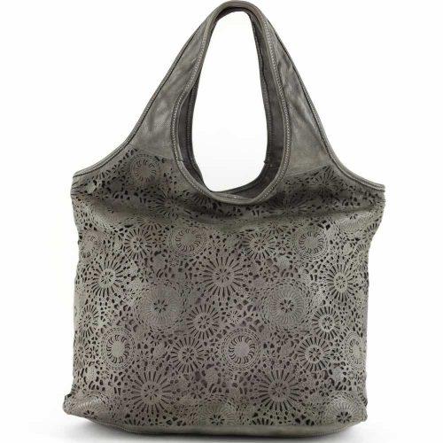 FIORELLA Shoulder Bag With Laser Cut Detail Dark Grey