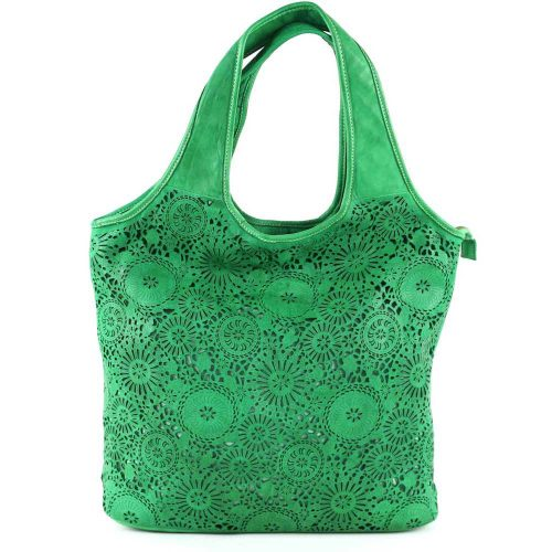 FIORELLA Shoulder Bag With Laser Cut Detail Emerald Green