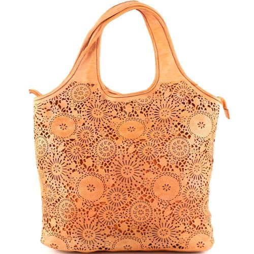 FIORELLA Shoulder Bag With Laser Cut Detail Orange