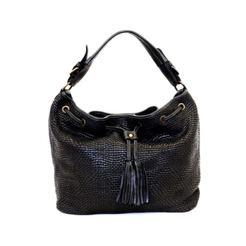 ELENA Bucket Bag With Tassels Black