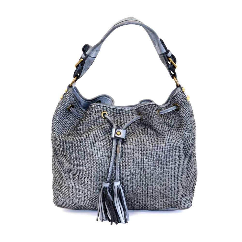 ELENA Bucket Bag With Tassels Grey