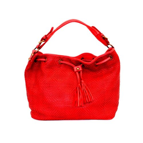 ELENA Bucket Bag With Tassels Red