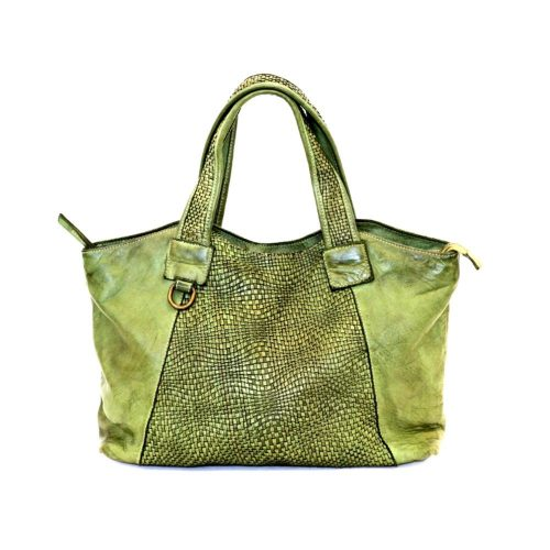 DARIA Hand Bag With Woven Detail Army