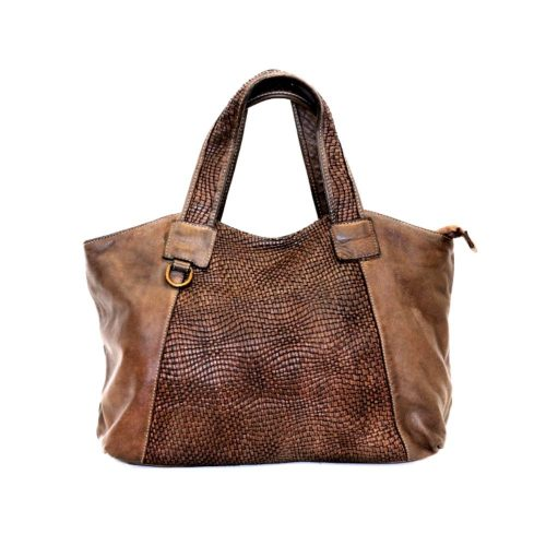 DARIA Hand Bag With Woven Detail Brown