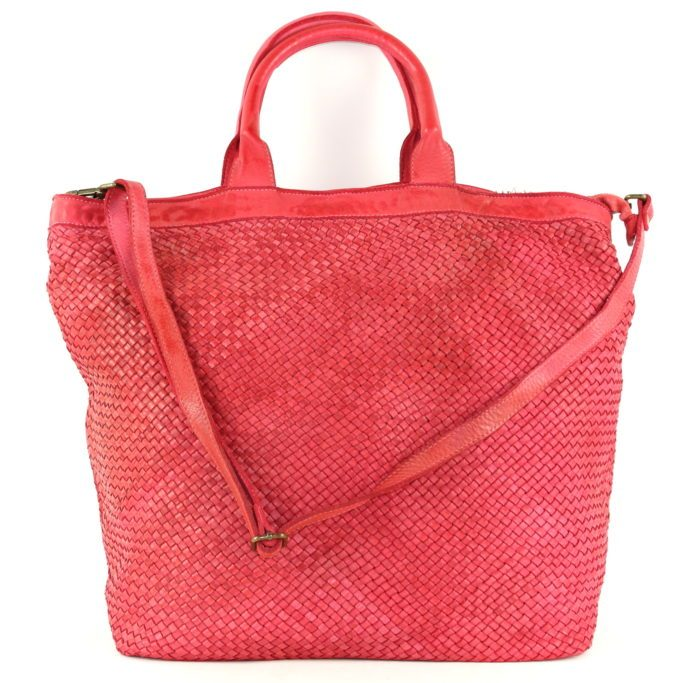 CHIARA Small Weave Tote Bag Red
