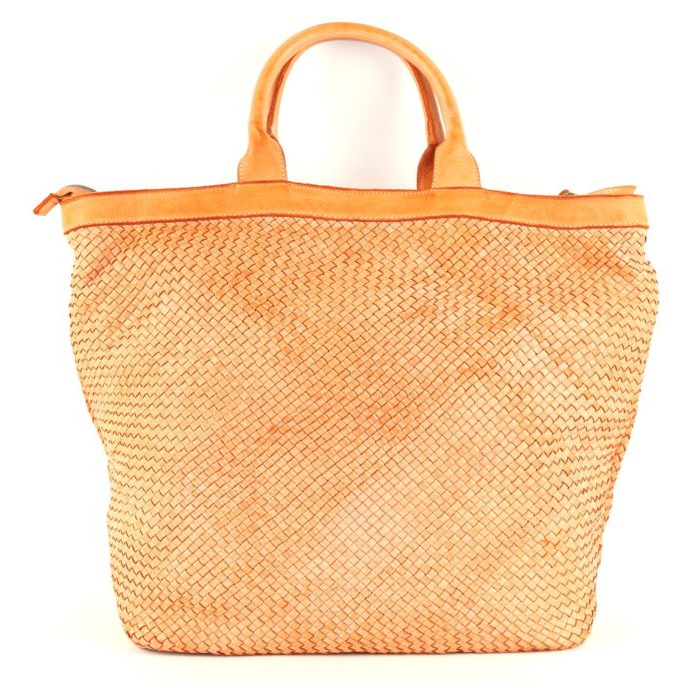 CHIARA Small Weave Tote Bag Orange