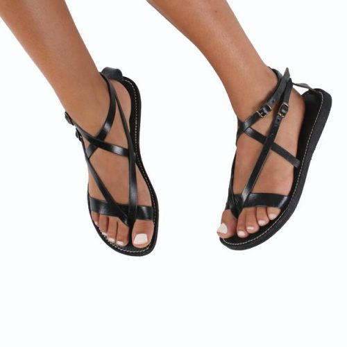 Rhodes Leather Sandals With Double Buckle – Black