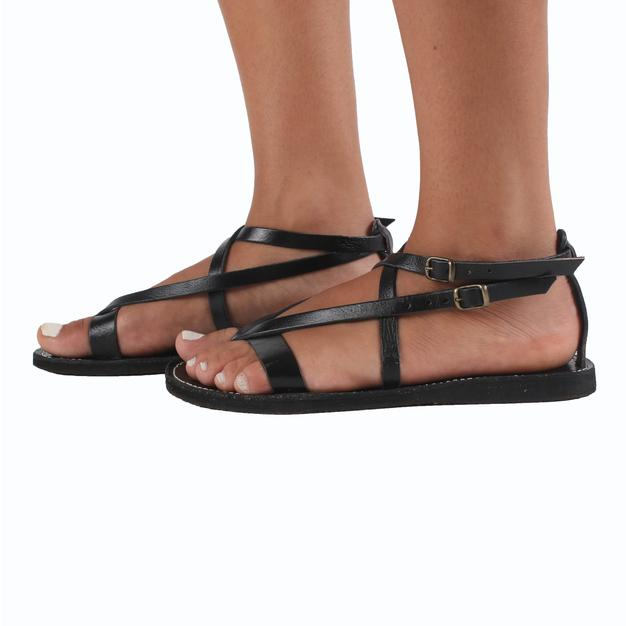 Rhodes Leather Sandals Black From The Side