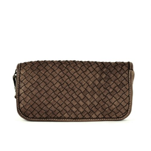 SIMONETTA Woven Wrist Wallet Dark Brown
