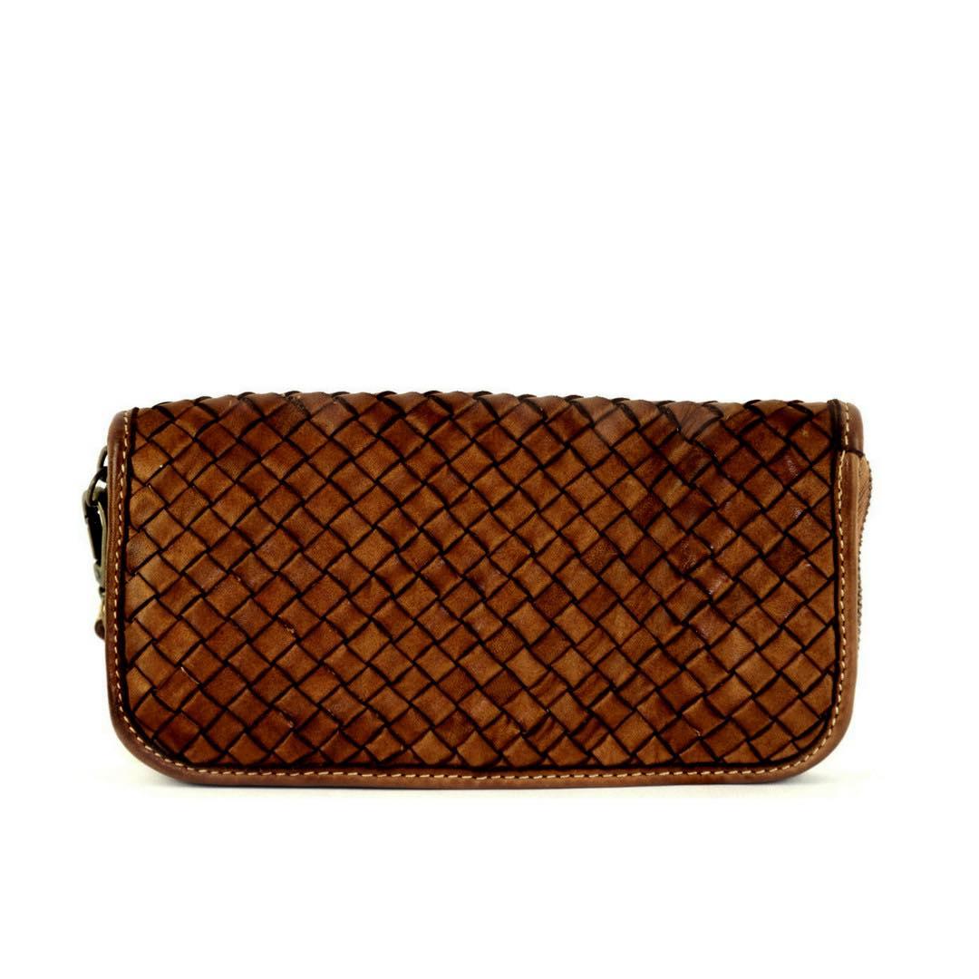SIMONETTA Woven Wrist Wallet Dark Tan