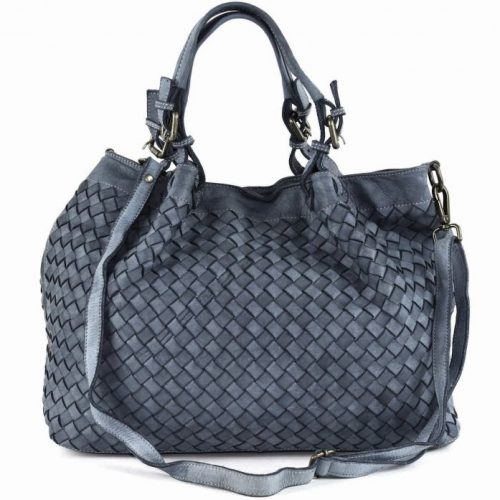 LUCIA Tote Bag Large Weave Dark Grey