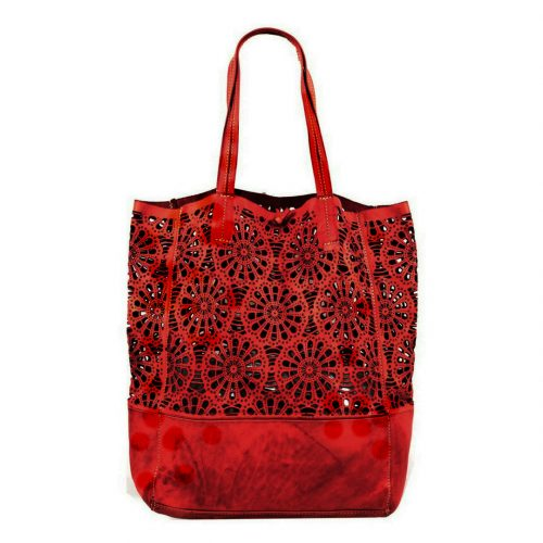 LEILA Shopper Bag With Laser Cut Flower Pattern Red
