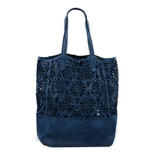 LEILA Shopper Bag With Laser Cut Flower Pattern Navy