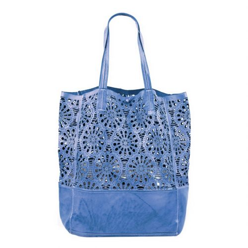 LEILA Shopper Bag With Laser Cut Flower Pattern Denim