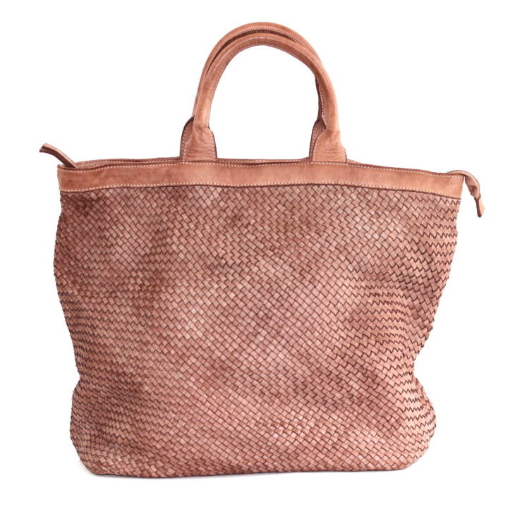 CHIARA Small Weave Tote Bag Blush