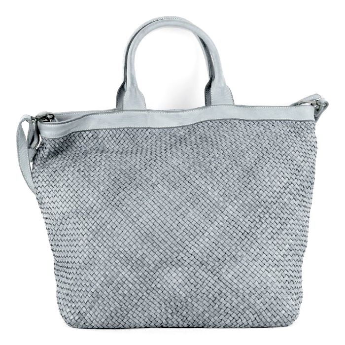 CHIARA Small Weave Tote Bag Light Grey