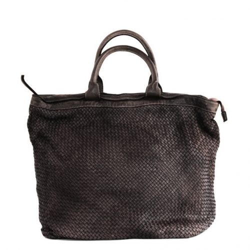 CHIARA Small Weave Tote Bag Dark Brown