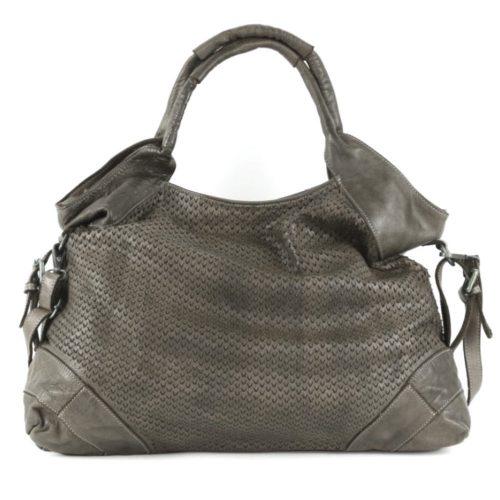 VALENTINA Handbag With V-shaped Laser Cut Pattern Taupe