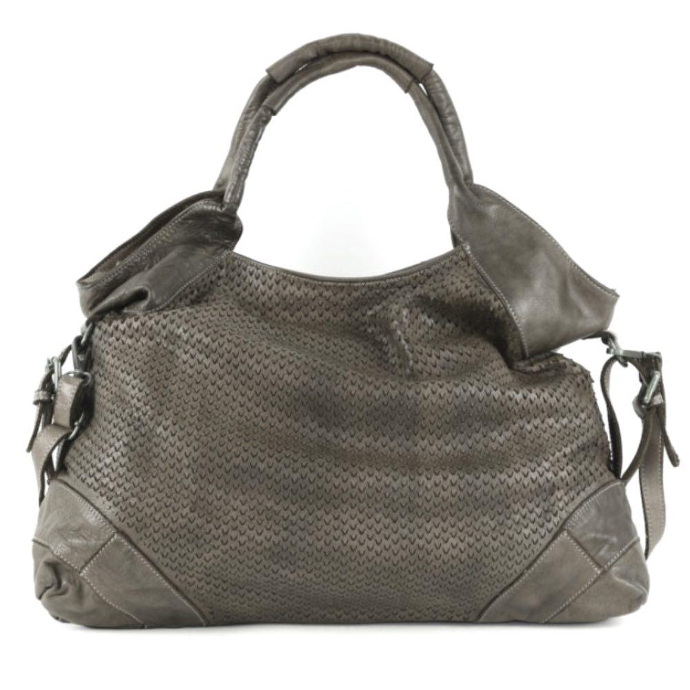 Valentina v-shaped laser cut leather hand bag in dark taupe