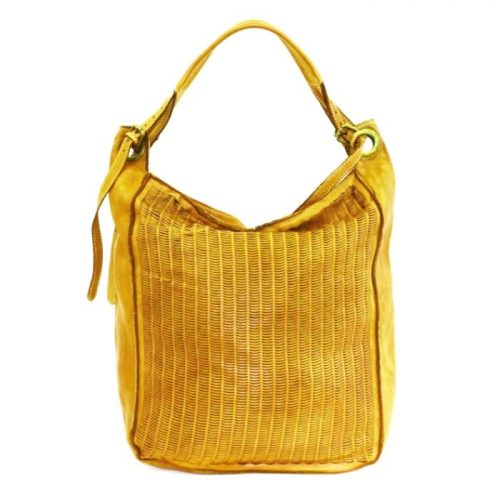 GIULIA Hobo Bag With Moon Laser Detail Mustard