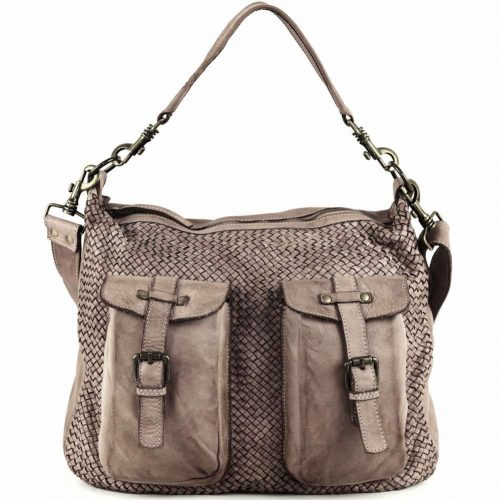 BARBARA Woven Hobo Bag With Two Pockets Dark Taupe