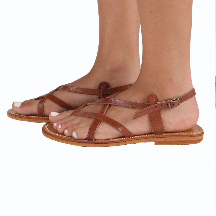 Santorini Leather Sandals Tan From The Side
