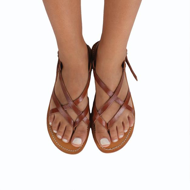 Santorini Leather Sandals – Tan