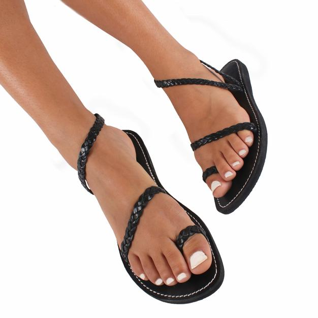 Mykonos Woven Leather Sandals – Black