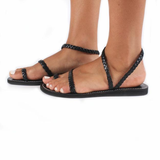 Mykonos Leather Sandals In Black View From The Side