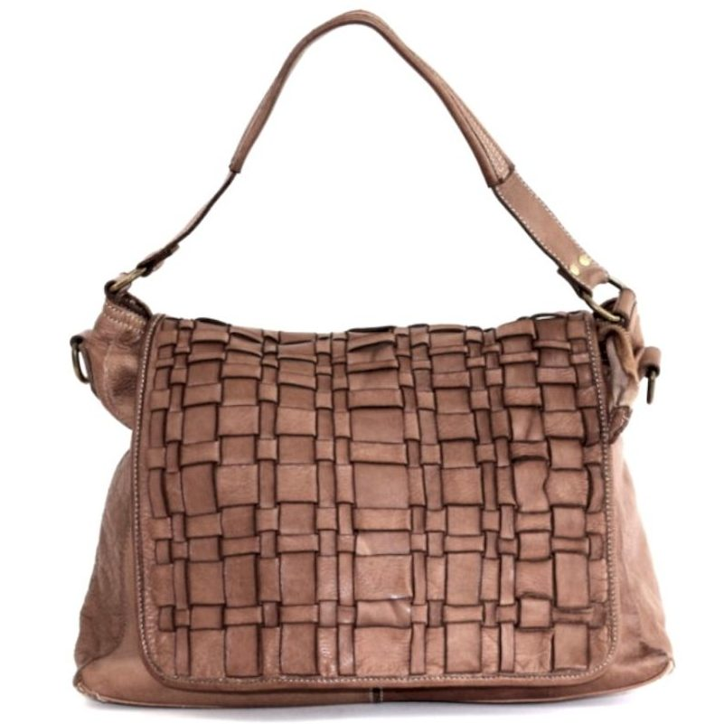 VIRGINIA Flap Bag With Asymmetric Weave Taupe