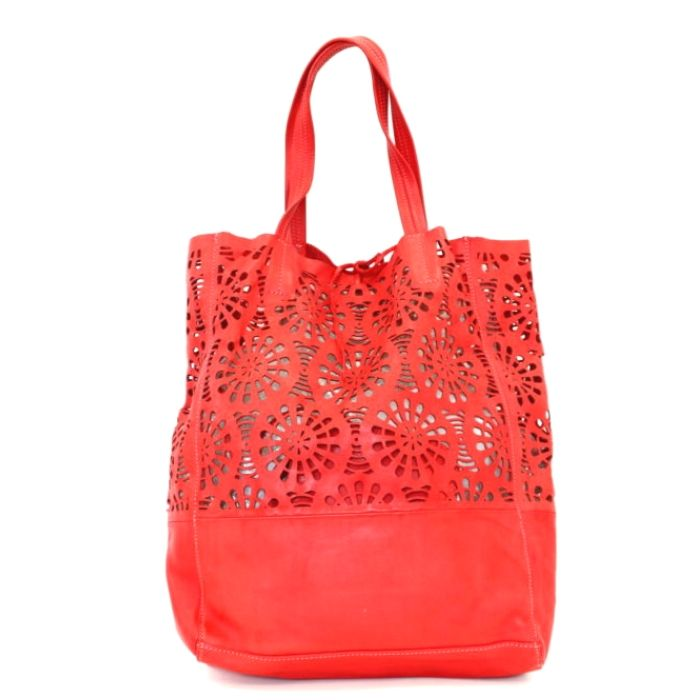 LEILA Shopper Bag With Laser Cut Flower Pattern Red
