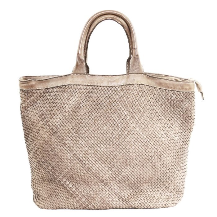 CHIARA Small Weave Tote Bag Beige