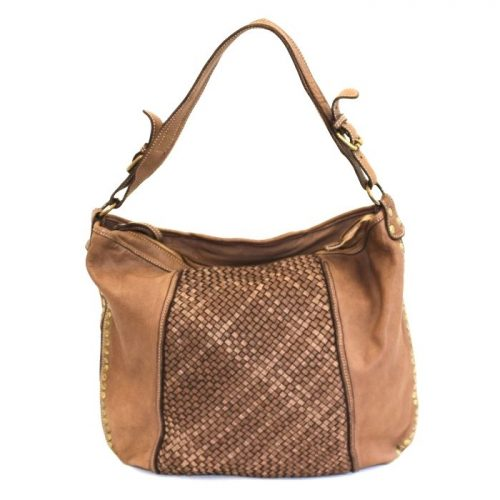 MONICA Woven Shoulder Bag With Studs Taupe
