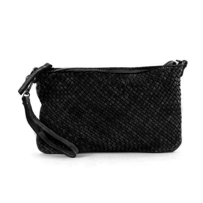 CLAUDIA Woven Clutch Wristlet Bag Black