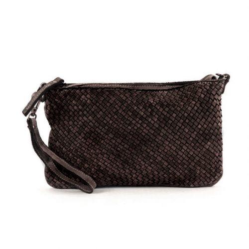 CLAUDIA Woven Clutch Wristlet Bag Dark Brown