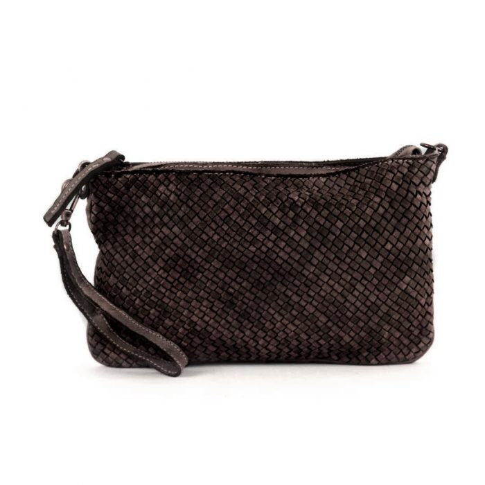 CLAUDIA Woven Clutch Wristlet Bag Dark Brown