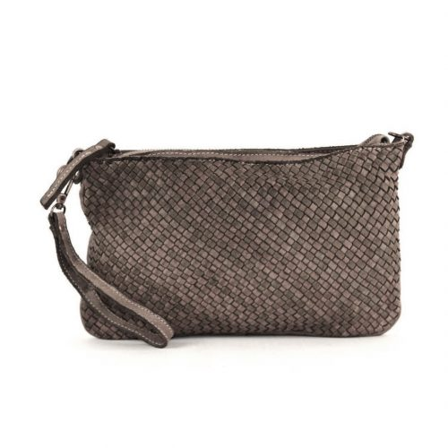 CLAUDIA Woven Clutch Wristlet Bag Dark Taupe