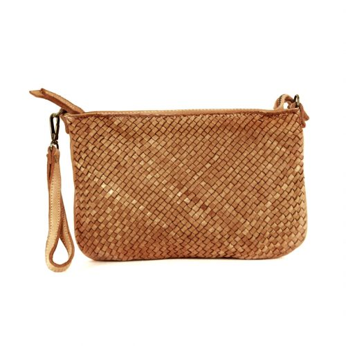 CLAUDIA Woven Clutch Wristlet Bag Tan
