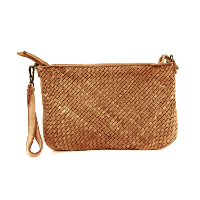 CLAUDIA Woven Clutch Wristlet Bag Tan