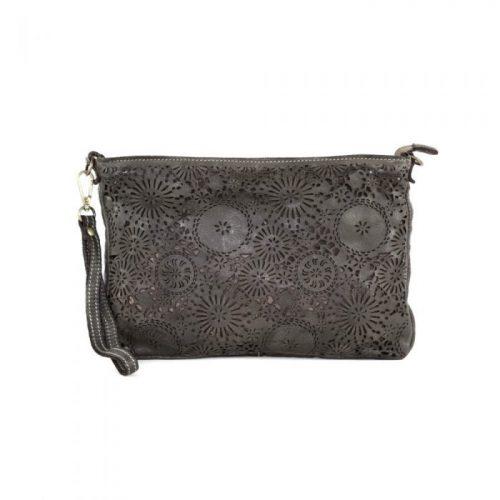CLAUDIA Laser Clutch Wristlet Bag Dark Taupe